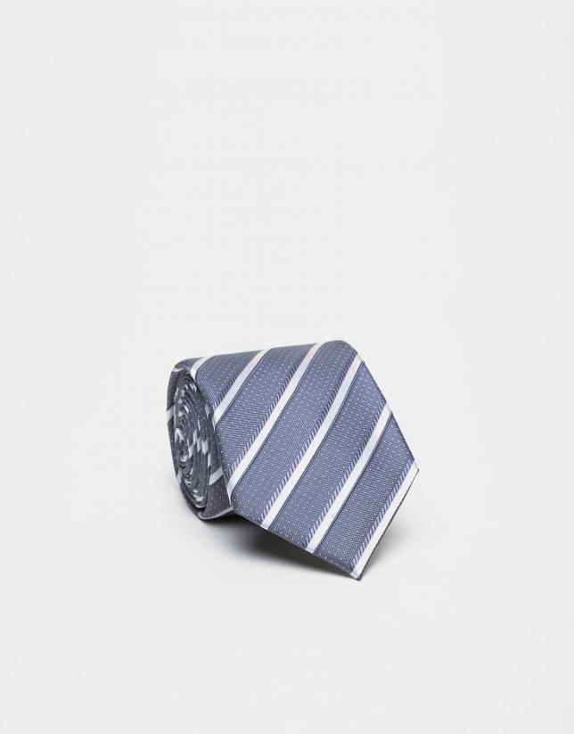 Corbata seda rayas gris medio