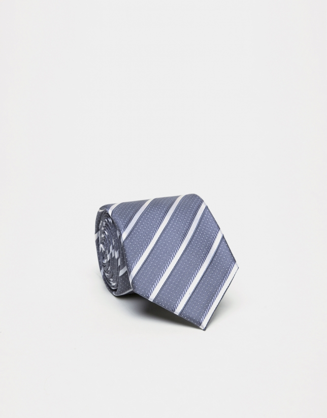Gray striped silk tie