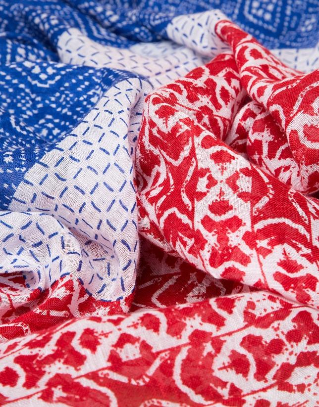 Blue print linen/cotton scarf
