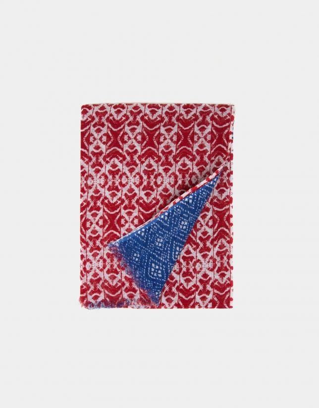 Foulard en lin/coton imprimé bleu