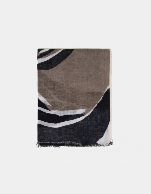 Foulard en lin avec des tâches en noir/écru/brun