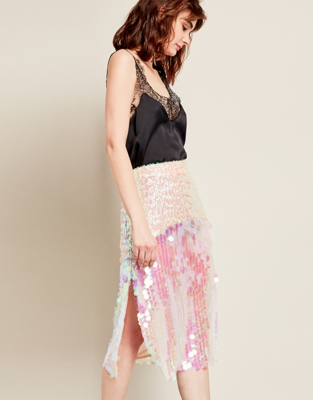 Pink skirt with iridescent sequins