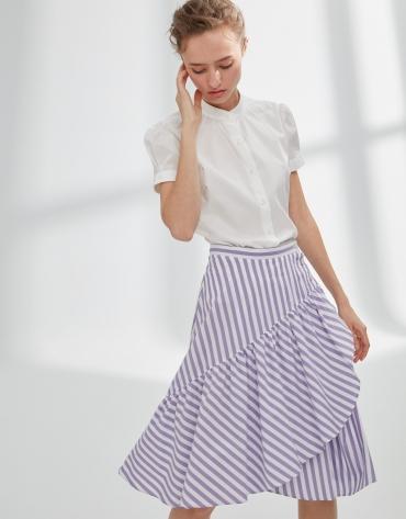 Falda de rayas malva con volante