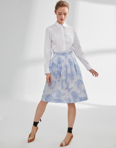 Falda vuelo estampada azul