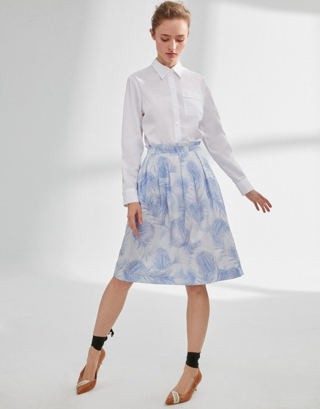Blue print flowing skirt