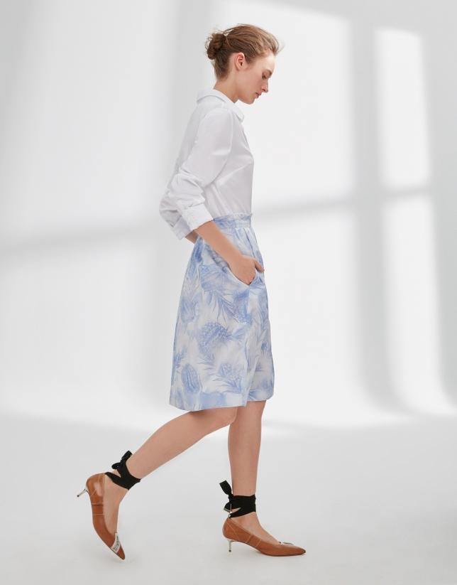 Blue print flowing skirt