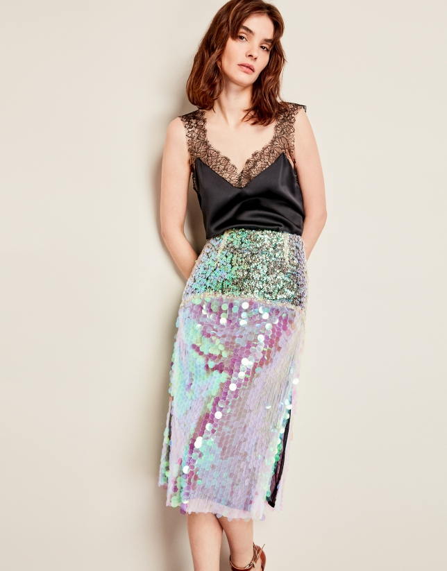 05feead51 Falda lentejuelas irisadas tonos verde - Mujer | Roberto Verino