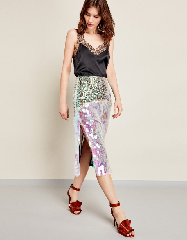 Green skirt with iridescent sequins