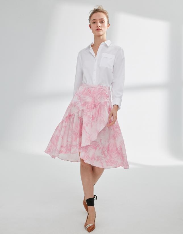 Falda estampada rosa con volante