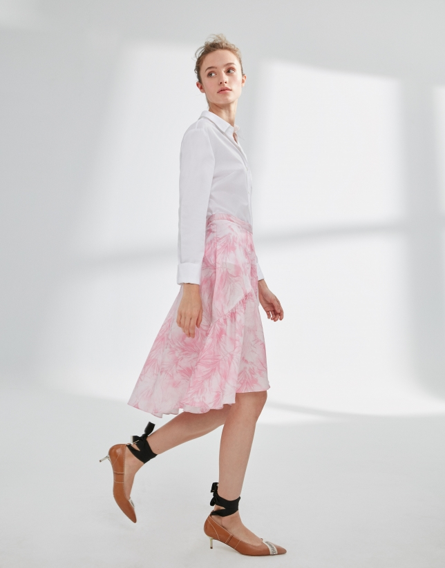 Pink print skirt with flounce
