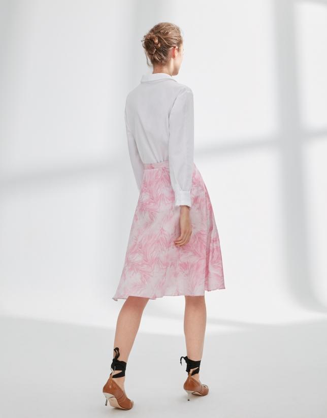 Pink print skirt with flounce