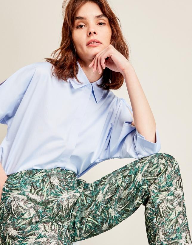 Pantalon métallisé vert