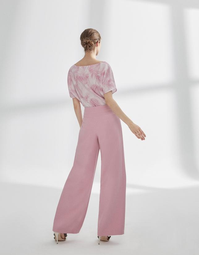 Pantalón recto rosa