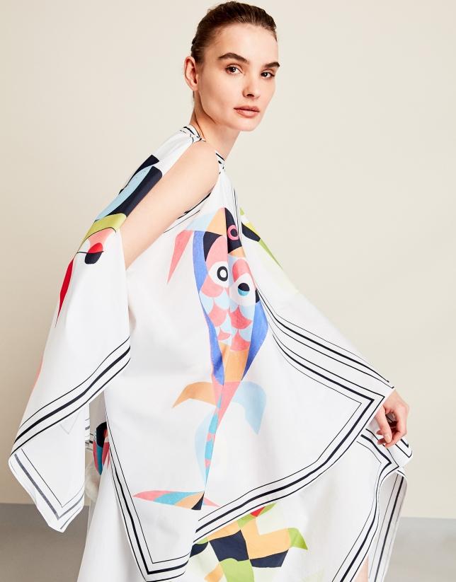Fish print cape top