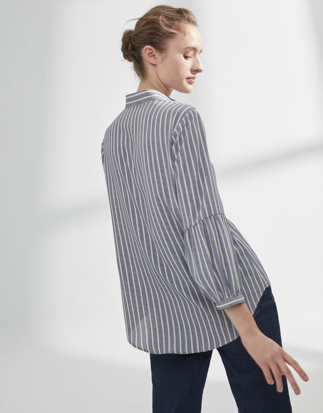 Blue striped painter's smock blouse