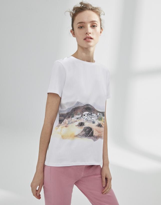 T-shirt blanc à paysage
