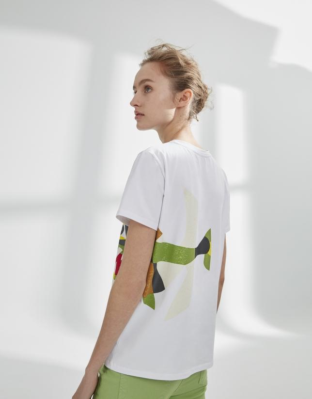 T-shirt blanc dessin poisson
