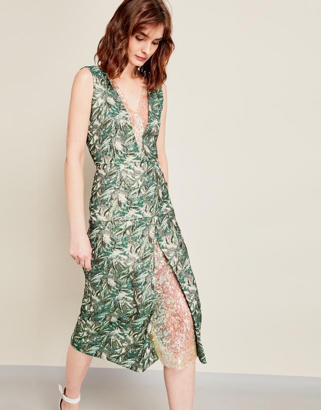 Vestido estampado verde lentejuelas