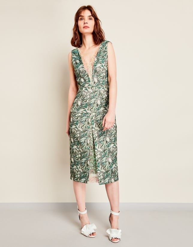 Green print dress with sequins