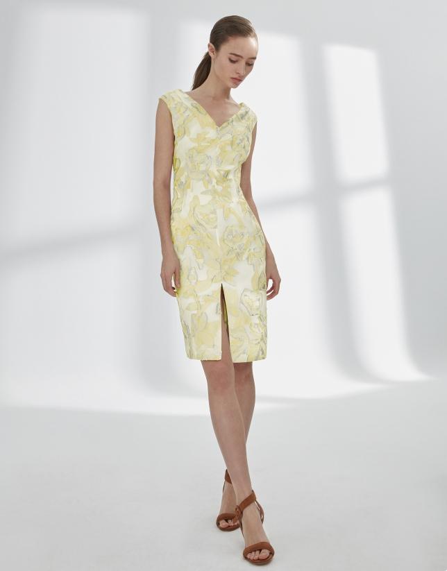 Vestido jacquard amarillo y plata