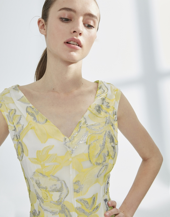Yellow and silver jacquard dress