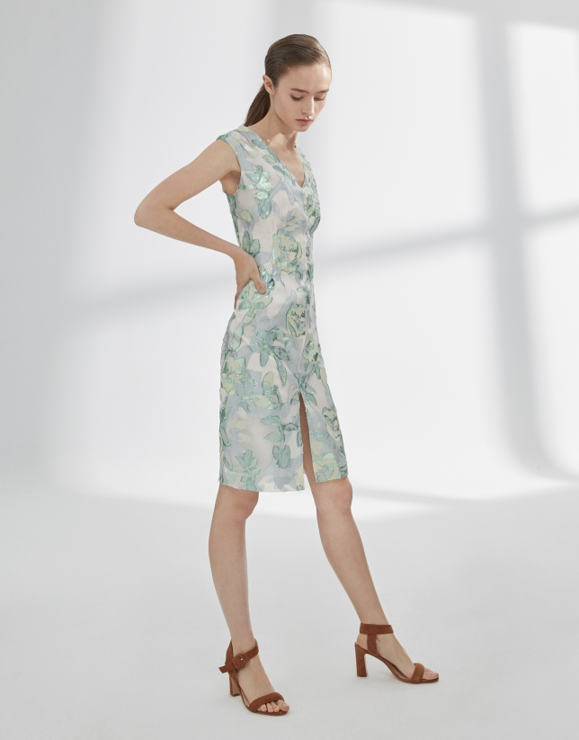 Green and silver print dress with V-neck and straps