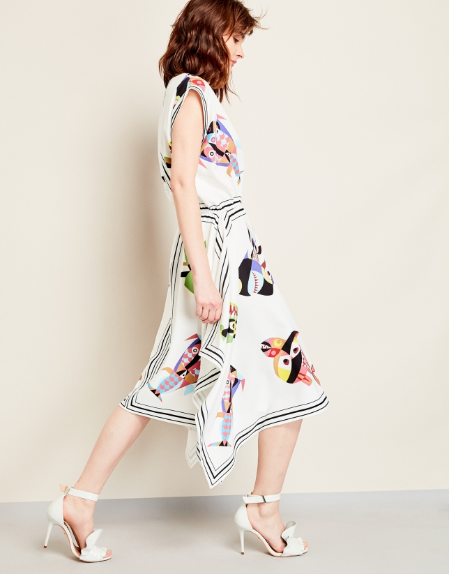 Flowing dress with fish print