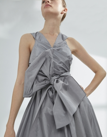 Gray draped flowing dress