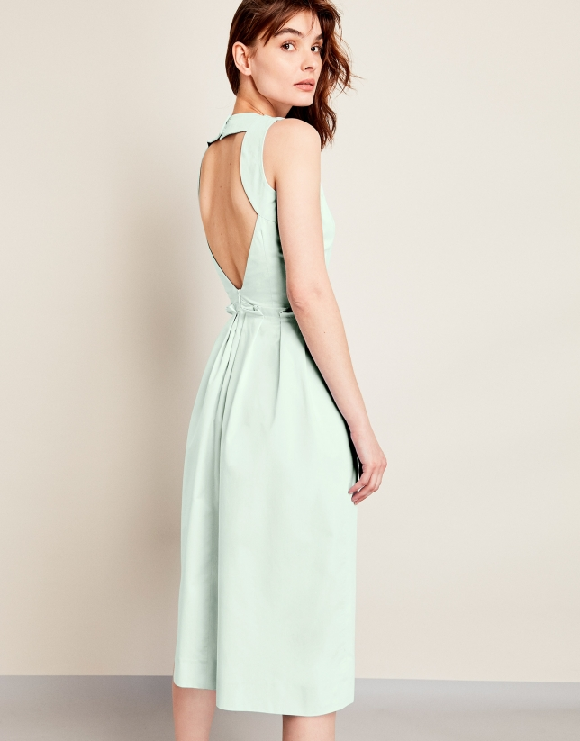 Green halter top dress