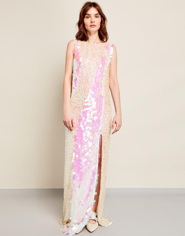 Vestido largo lentejuelas rosas