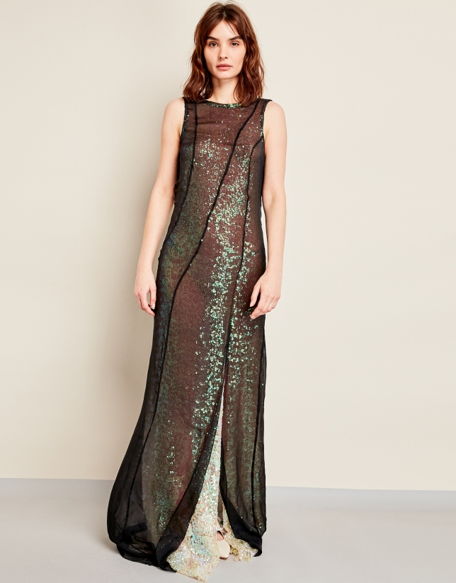Long black chiffon dress with black sequins