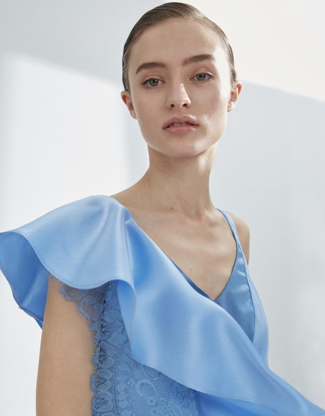 Blue satin dress with flounce