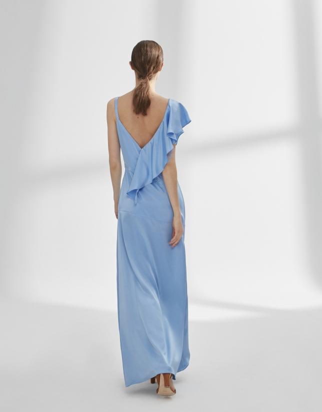 Vestido satén azul con volante