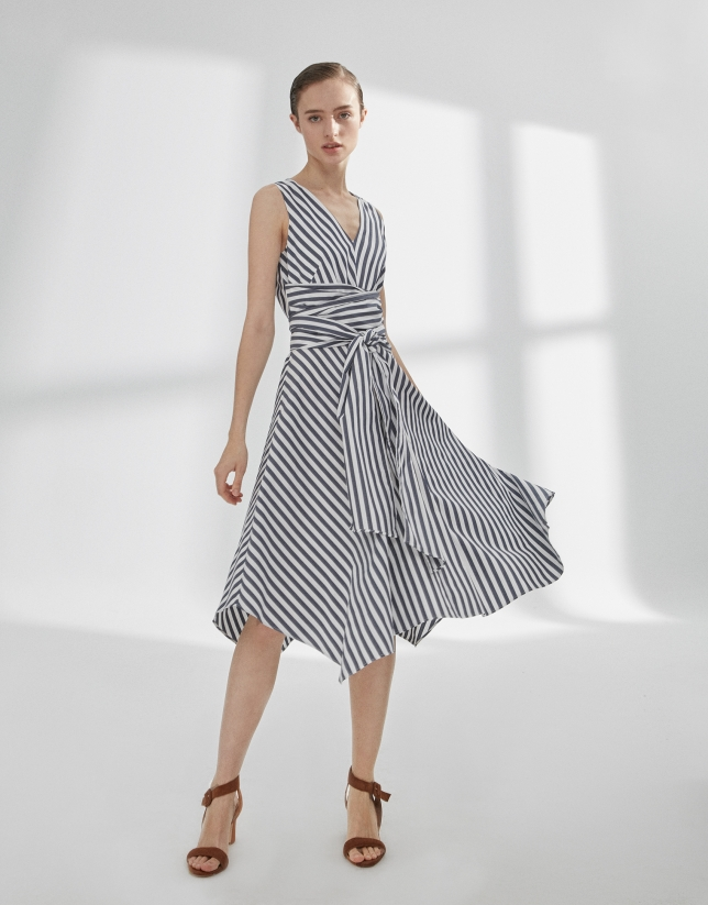 White and blue striped flowing dress