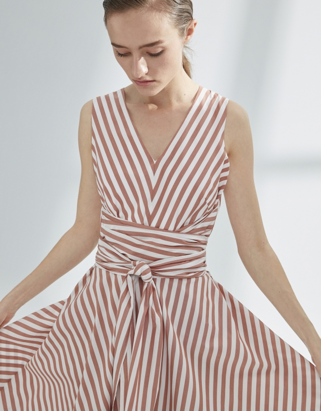 White and orange striped flowing dress