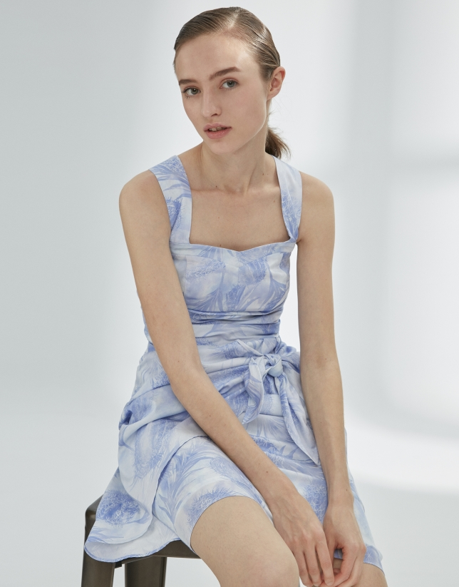 Blue draped dress with straps