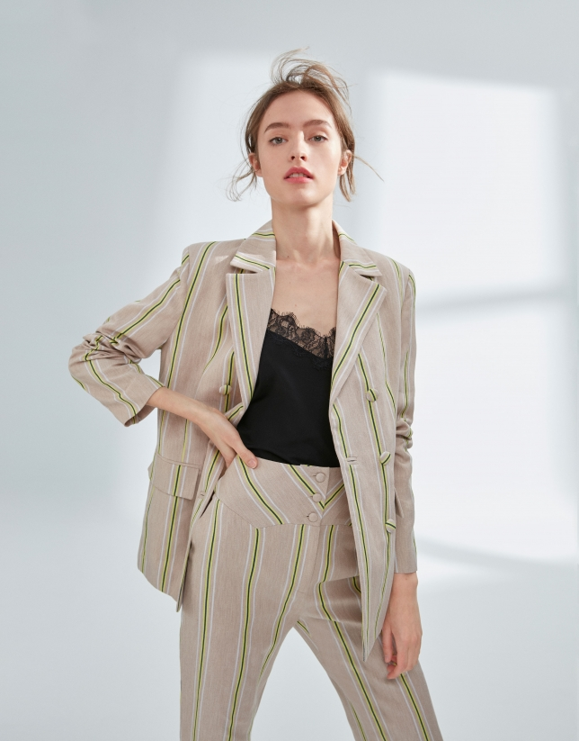 Striped, double-breasted jacket
