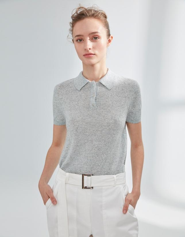 Polo punto tricotado gris