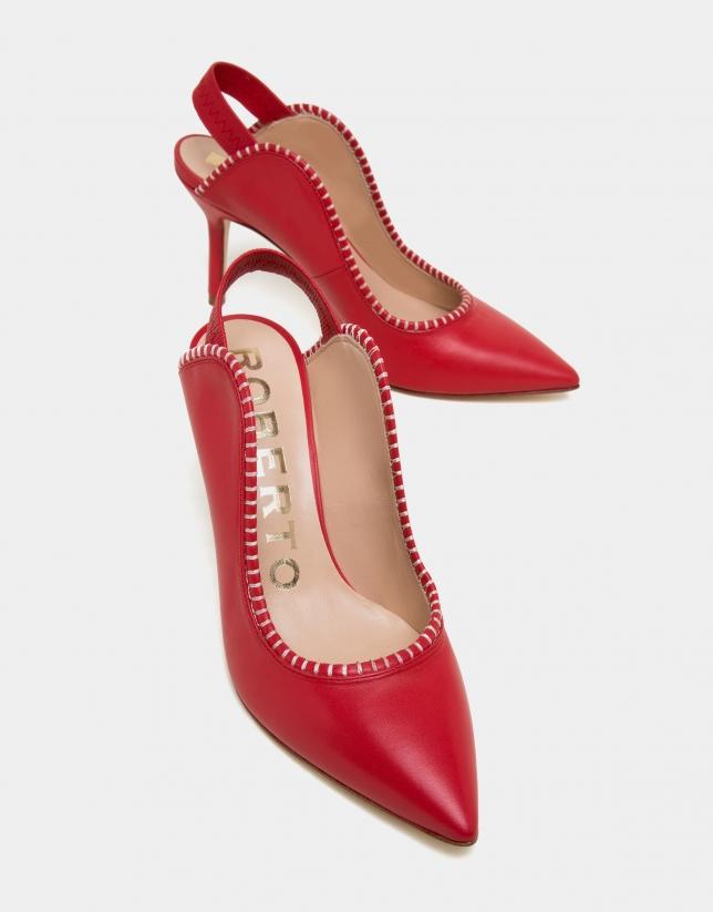 Mule Salina en cuir rouge