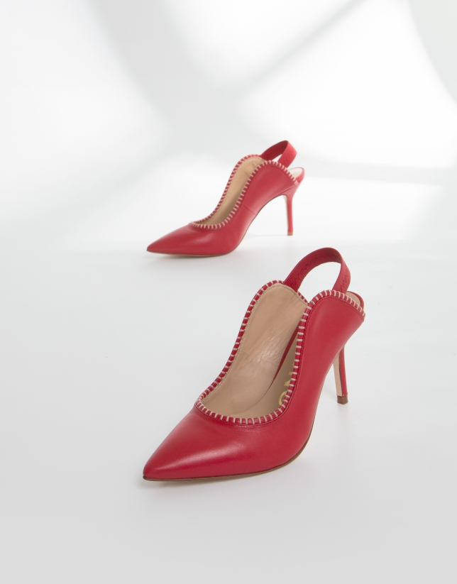 Red leather Salina mules