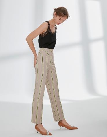 Pantalon en lin à rayures