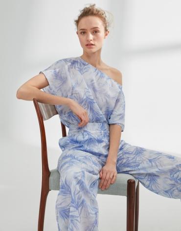 Pantalón de pinzas estampado azul