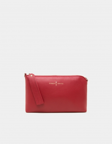 Red leather Lisa nano Clutch