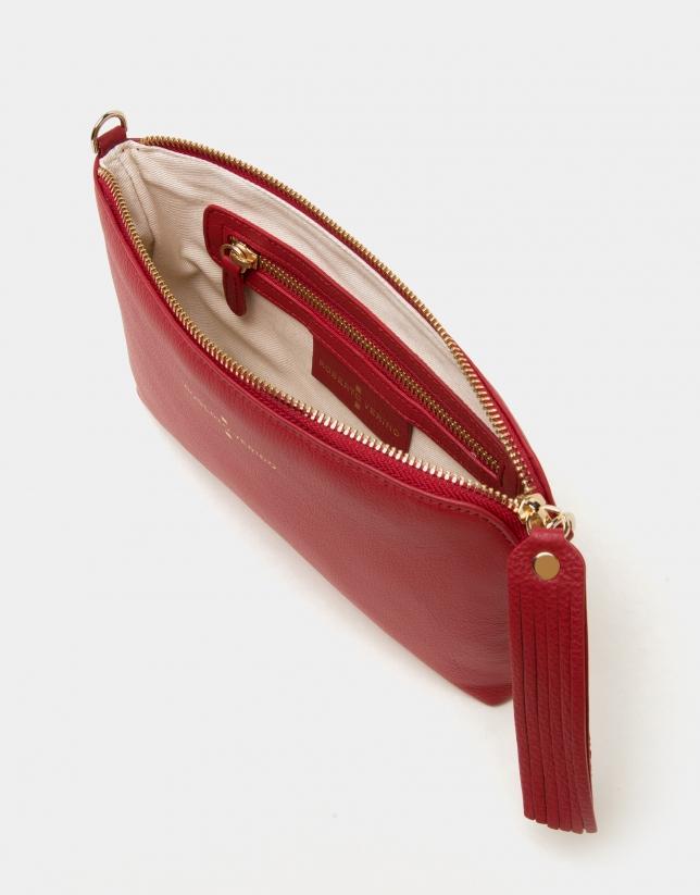 Clutch Lisa nano en cuir rouge