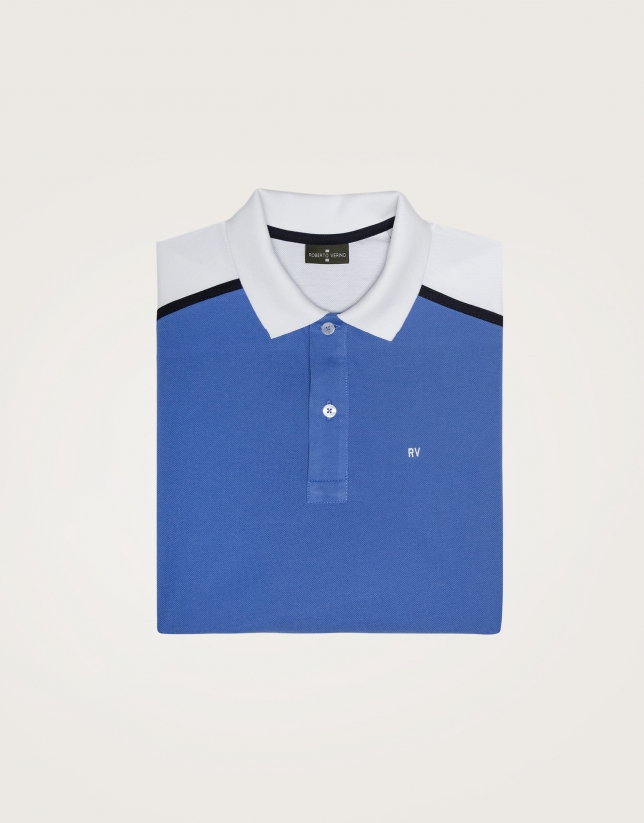 "Blue and white ""color block"" polo"