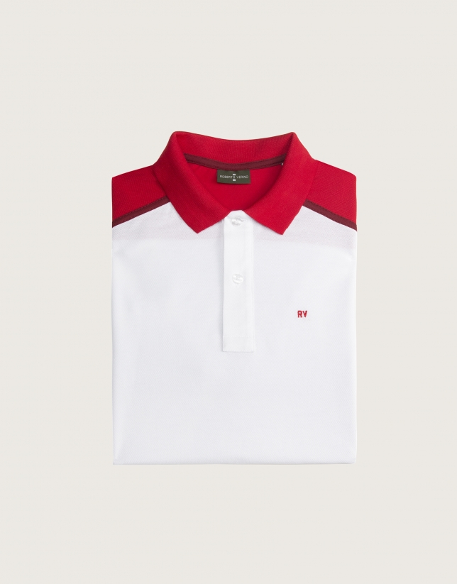 "White and red ""color block"" polo"