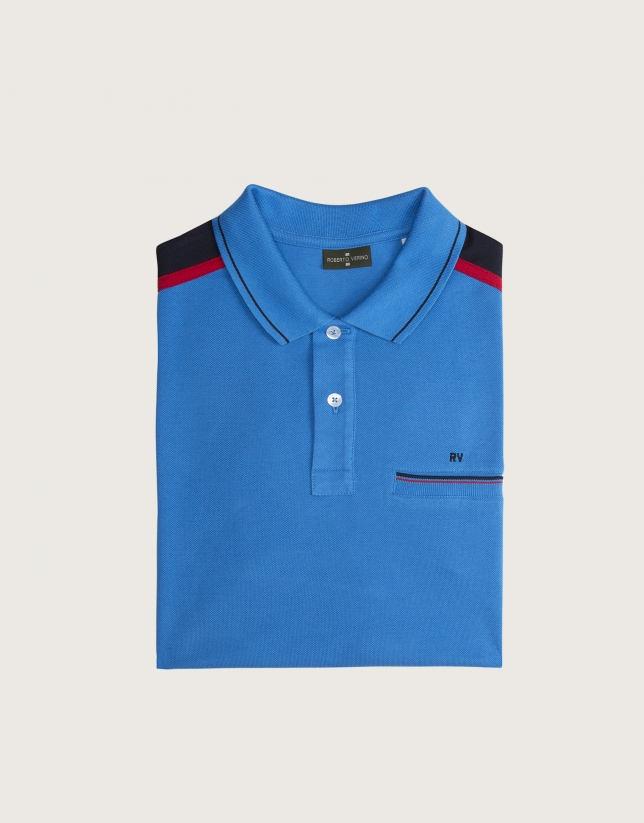Blue polo with striped shoulders