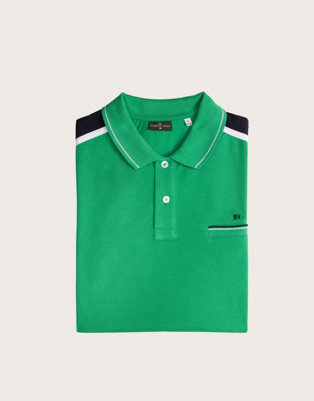 Green polo with striped shoulders