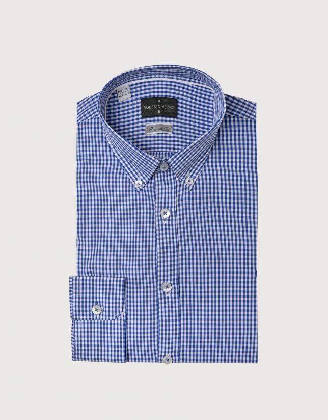 Chemise décontractée vichy bleu marine