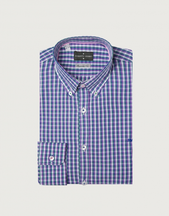 Blue and pink checked sport shirt